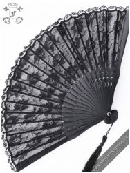 Black Palace lace folding fan