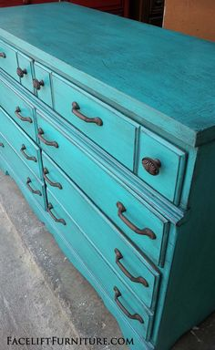 Rustic Turquoise dresser upstyled from a purple spray painted cringe-worthy piec. - - Rustic Turquoise dresser upstyled from a purple spray painted cringe-worthy piece. See the before & after at Facelift Furntiure! Paint Furniture, Living Furniture, Furniture Projects, Furniture Makeover, Dresser Makeovers, Furniture Design, Furniture Stores, Furniture Outlet, Furniture Knobs