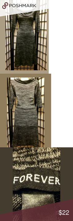 Awesome Forever Black/Gray and White Sweater Dress Awesome ~Forever~ Black/ White/and Gray ~ Size M~Textured~Cowl Neck Sweater dress~Sweater~ 3/4 Sleeve ~Casual Wear? Forever Dresses