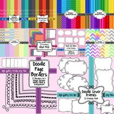 Save over by purchasing these items bundled. This HUGE Seller's Toolkit Bundle includes 96 digital background papers, 91 frames & borders, and 6 fonts. When purchasing this toolkit, all products may be used commercially WITHOUT providing credit! Black And White Doodle, Black And White Frames, Scrapbook Background, Scrapbook Paper, Background Clipart, Borders For Paper, Borders And Frames, Free Digital Scrapbooking, Digital Papers