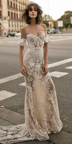 lace off the shoulder wedding gowns 1