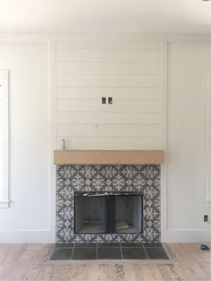 Peel and Stick Tile Fireplace . Peel and Stick Tile Fireplace . Our Old Fireplace Was 80 S 90 S Brick Veneer to Give It An Fireplace Tile Surround, Paint Fireplace, Shiplap Fireplace, Farmhouse Fireplace, Home Fireplace, Fireplace Remodel, Living Room With Fireplace, Fireplace Surrounds, Fireplace Design