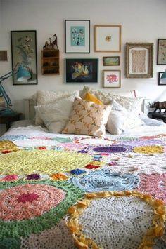 "magicalhomestead: "" Colorful doily bedspread. Brit Morin """