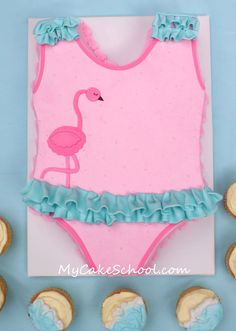 Swimsuit cake tutorial from My Cake School! (Simple beach cupcakes too!)