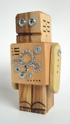 Wood toys robot Ideas for 2019 Recycled Robot, Recycled Crafts Kids, Primitive Wood Crafts, Woodworking Projects For Kids, Found Art, Wood Toys, Craft Patterns, Creations, Etsy