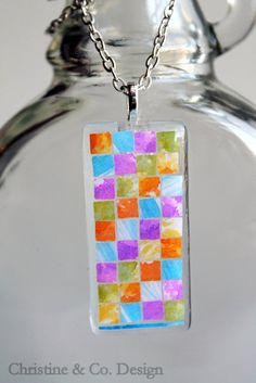 Fresh Color Mosaic Glass Pendant by ChristineandCodesign on Etsy, $25.00