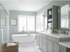 Grey Master Bath Cabinets | Benjamin Moore Cliffside Gray