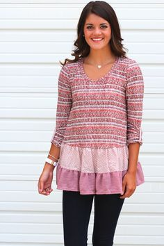 Long sleeve double ruffle sweater tunic top with sleeves that can be rolled into three quarter length. The arm tabs are printed to match the ruffle layers. Mauve (purple/pink) with rust and brown mixe Diy Clothing, Sewing Clothes, Clothing Patterns, Diy Fashion, Fashion Outfits, Diy Upcycling, Altered Couture, Altering Clothes, Tunic Sweater