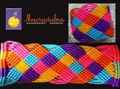#Brazalete de cuadritos multicolor en #Macrame by Macradabra, via Flickr