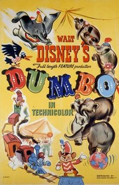 1941 Dumbo Poster 517x800 Les affiches des 53  films Disney de 1937 à 2013  design cinema 2 art