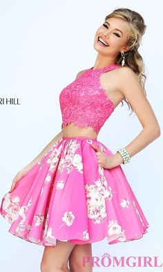 Short Two Piece Print Dress by Sherri Hill