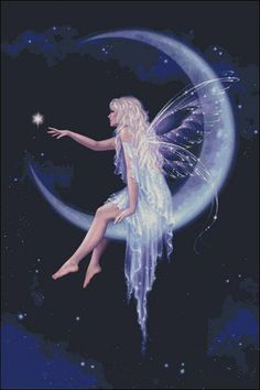 Good night fairy Beautiful Fairies, Beautiful Fantasy Art, Fairy Pictures, Fairy Land, Fairy Tales, Moon Art, Fantasy Creatures, Mythical Creatures, Fairy Paintings