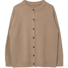 Ribbed Trim Button-Front Knit Cardigan ❤ liked on Polyvore featuring tops, cardigans, clothing - cardigans, long sleeve knit cardigan, knit cardigan, button down cardigan, button up top and brown knit cardigan