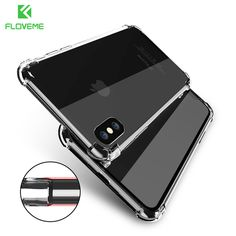 FLOVEME Classic Anti-knock TPU Case For iPhone X iPhone 7 8 Plus Clear Silicon Shockproof Cover For iPhone X Cases Accessories //Price: $7.95     #socialenvy
