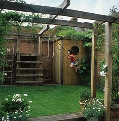 Could we do this in our garden? Small space solution - beams. For plants to climb, for hanging pots, and for a swing