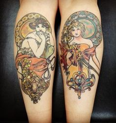 Mucha tattoo - Topaz and Spring, by Dia Moeller