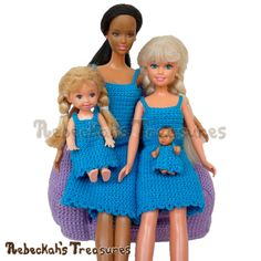 Simply Blue-tiful - a NEW free fashion doll set of crochet patterns coming soon to @beckastreasures...