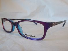 ae0a65343a48e Bebe eye glasses frame envy bb5044 513 purple crystal 53-17-135 new    authentic