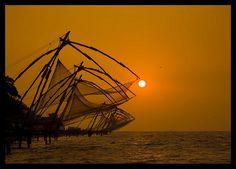 Chinese Fishing Nets In Silhouette At Sunset, Kochi, India Eric Lafforgue, Kerala Travel, India Travel, Beautiful Sky, Beautiful World, Kerala Backwaters, Kerala India, South India, Arabian Sea