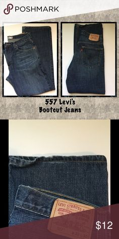 🍃 557 Levi's Bootcut Jeans 557 Levi's relaxed bootcut jeans, slight wear on hem as shown in picture 2 otherwise in great condition, waist 32 Length 30, 100% Cotton Levi's Jeans Boot Cut
