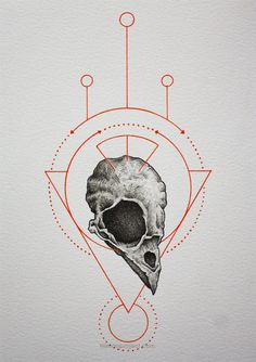Modern alchemy/geometric shapes/symbols. With bird skull, Would look great as a tattoo.
