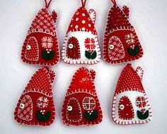 Little felt house Christmas ornaments, Red and white felt Holiday ornaments Felt Christmas ornaments, Red and white patchwork houses, Handmade felt… Xmas Crafts, Felt Crafts, Fabric Crafts, Felt Christmas Decorations, Felt Christmas Ornaments, House Decorations, House Ornaments, Ornaments Ideas, Gnome Ornaments