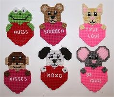 Free Plastic Canvas Magnet Patterns | Free valentines day patterns for plastic canvas Gift for her on ...