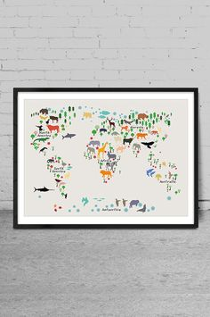Animal map of the world map for children and kids art print 60 animal world map nursery wall decor baby room map art world map kids world gumiabroncs Gallery