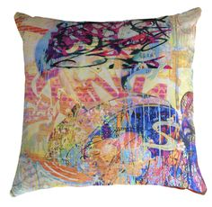 Kerrie Brown -Velvet Cushion- Graffiti- Yum Yum Please email sales@kerriebrown for a shipping quote
