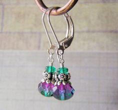 Blue and Purple Earrings Sterling Silver Leverback Ear Wires #Handmade #DropDangle
