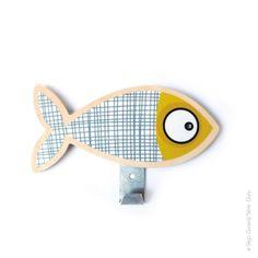 Patère poisson gris