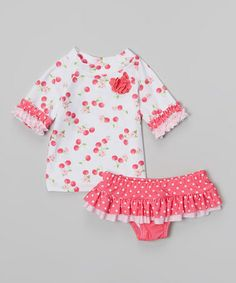 Another great find on #zulily! Pink & White Cherry Skirted Rashguard Set - Infant & Toddler by Nannette Baby #zulilyfinds