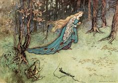 "Myth & Moor: Into the Woods, 2: Tales of the Forest - ""The Frog Prince"" by Warwick Goble (England)  From ""Turning Our Fairy Tales Feral Again"" by Sylvia Linsteadt:""When we walk, holding stories in us, do they touch the ground through our footprints?"