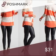 """Carly's Coral & White Striped Top How cute are these? Coral striped knit top that never goes out of style. And easily pairs with leggings. We've just added this one to our closet for Fall. """"Like"""" for notification of arrival, Trindy Clozet Boutique Tops"""