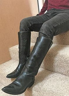 VINTAGE STOVEPIPE COWBOY BOOTS BY DURANGO. NO NONSENSE CLASS! JAN. '19. Custom Cowboy Boots, Cowgirl Boots, Riding Boots, Mens High Boots, Buckaroo Boots, Cowboy Love, Cowboy Outfits, Dress With Boots, Tall Boots