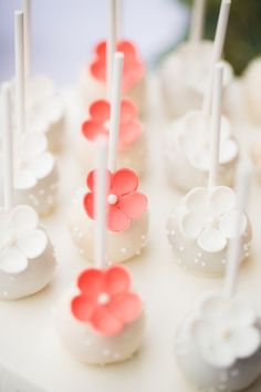 White Sprinkle Cake Pops with White & Peach Flowers