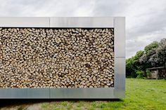 a mosaic of cut log ends…