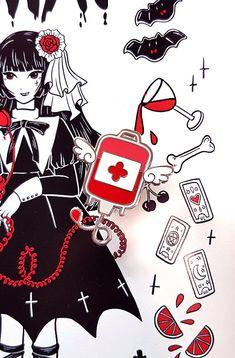 Dark Blood Bag Enamel Pin - Menhera Guro Kawaii Yamikawaii Yumekawaii