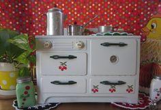 Vintage Toy Tin Play Stove Child Toy Kitchen by LittleRedPolkaDots