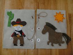 A cowboy quiet book page with horse, lasso, and cactus. :)