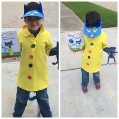 Pete the Cat Costume: Visor was hand painted, sewed buttons on shirt, used blue arts/ crafts pipe cleaner for ears and tail (found all materials at Hobby lobby and walmart)