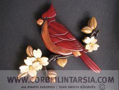 CORBEILINTARSIA.COM plan intarsia oiseau cardinal - intarsia pattern bird
