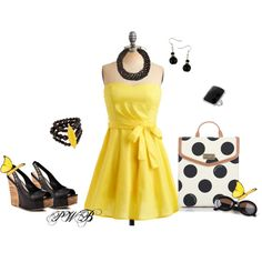 Yellow sundress, created by pamela-barrett-williamson on Polyvore