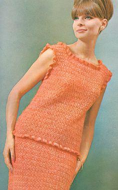 Crochet Ruffled Two Piece Dress Vintage 1960s Pattern PDF 6505