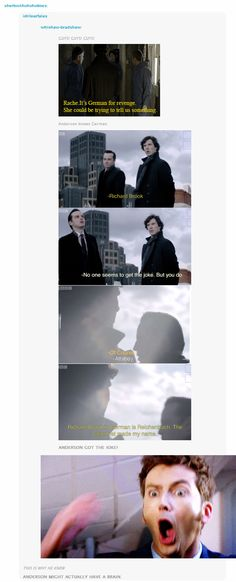 ANDERSON KNOWS GERMAN. ANDERSON GOT THE JOKE. THAT'S WHY HE KNEW SHERLOCK WAS COMING BACK. --- o snap Anderson O.o