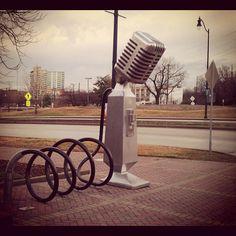 Nashville...where the bike racks are shaped like old-time microphones