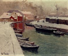 """If you have any other questions about """"3 A Snowy Harbo impressionism Norwegian landscape Frits Thaulow paintings art for sale"""", please contact Toperfect. Description from oilpaintingfactory.com. I searched for this on bing.com/images"""