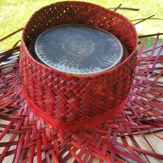on my trustee hat-pot lol🔱🔱 Flax Weaving, Weaving Patterns, Hat Making, Hawaiian, Islands, Macrame, Amanda, Weave, Knit Crochet