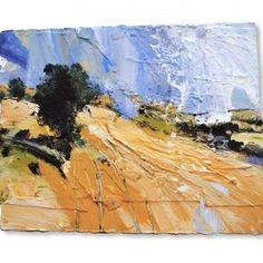 David Tress English Harvest Landscape 2, mixed media on paper 48 x 61 cm.