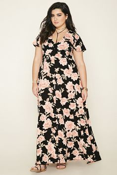 Forever 21+ - A woven floral print maxi dress featuring a V-neckline, self-tie back straps, short sleeves, and a concealed back zipper.